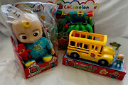 Cocomelon Bundle-musical Bedtime Jj Doll, Doctor Checkup, Yellow School Bus, New