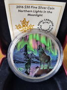 2016 Canada 30 Silver Coin Glow In The Dark - Northern Lights In The Moonlight