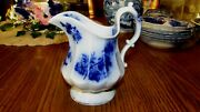 Beautiful Antique Flow Blue 6 Panels Pitcher Flower And Leaf Pattern Looks 1880's