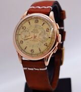 Chronograph Cauny Prima Andoslash385mm Vintage Gold Pl. Hand Winding Fully Serviced1959