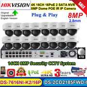 Hikvision 4k Cctv System 16ch 16poe Nvr 8mp Dome Poe Ip Camera Ds-2cd2185fwd Lot