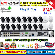 Hikvision 4k Cctv Kits 16ch Ds-7616ni-k2/16p+ds-2cd2185fwd 8mp Bullet Camera Lot