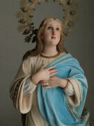 Immaculate Conception Virgin Mary Statue 27.5 Crescent Moon And Angels Olot
