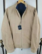 Nwt Peter Millar Large 1795 Mens Lamb Suede Reversible Wwii Flight Jacket Tan