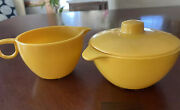 Vintage Lustro Ware Harvest Yellow Sugar And Creamer W/ Lid Made In Usa