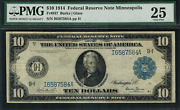 1914 10 Federal Reserve Note Minneapolis Fr-937 - Graded Pmg 25 Very Fine