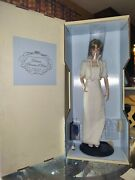 The Franklin Mint Diana Princess Of Wales Porcelain Doll W/ White Beaded Gown
