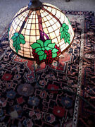 Antique Leaded Glass Shade--24and039and039 Diameter Hanging Shade With Cherries. 1910-30and039s