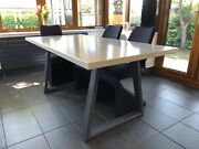 Handmade White Polished Concrete Dining Room Table