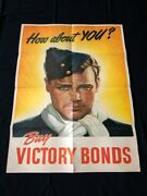 World War Ii Orig Propaganda Poster C.1940and039s How About You Buy Victory Bonds