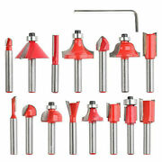 15pcs Milling Cutter Router Bits Set Tungsten Carbide Kit For Wood 1/4 Shank