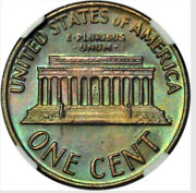 1971 D Lincoln Cent Ngc Ms66rb Toned Green Reverse Kenosha Toned Cent Collection