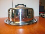 Vintage 60s 70s Stainless Steel Cake Server Plate W/ Dome Lid Cover Serving Tray