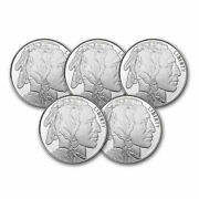 1 Oz Silver Round - Buffalo Lot Of 5 Rounds - .999 Fine Silver
