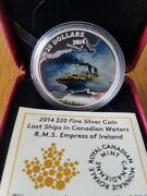 2014 Canada Silver Coin- Lost Ships In Canadian Waters Rms Empress Of Ireland