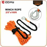 2/5 X100and039 Synthetic Winch Line Cable Recovery Rope 23000lb W/ Hook Truck Orange