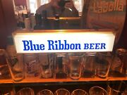 Rare 1950s Pbr Lighted Breweriana Vintage Pabst Blue Ribbon Lighted Sign Works
