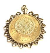 Unique Mexican 20 Pesos Pure Gold Coin Pendant With 14k Gold Frame 1.4 X 1.8