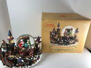 Christmas Traditions Mr Mrs Santa Claus Elves Musical Animated Water Globe