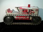 Marx 1950's Climbing Tractor Sparkling Tin Windup Toy Red 5