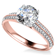 1.52 Ct 14k Rose Gold Real Diamond Solitaire Engagement Valentines Rings 5 6 7 8