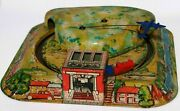 Vintage Mettoy Twin Tunnel Trains And Plane Goes Around - Tinplate Clockwork