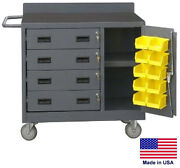 Cabinet Cart Portable - Coml - Locking Cabinet And Drawers W/bins 34h X 36w X 21d