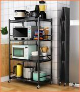 4 Layer Folding Kitchen Shelf With Wheels Floor Pot Microwave Kitchen Oven