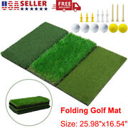 Tri-turf Golf Mat Portable Hitting Practice Pad Turf W/ Tees And Balls For Indoor