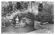 Vintage Rppc Postcard Fountain Of Youth St Augustine Real Photo Woman In Skirt