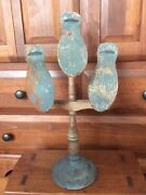 Awesome Late 1800and039s Primitive N.e. Country Store Wooden Shoe Display Orig. Blue