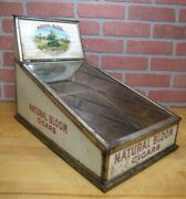 Natural Bloom Cigars Old Cigar Store Display Case Tin Litho Sign Property Of