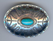 Vintage Navajo Indian Stamped Owls And Bow And Arrows Silver Turquoise Pin Brooch