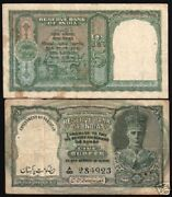 Pakistan Ovpt. India 5 Rupees P-2 1947 Deer King George Rare Bank Note Currency