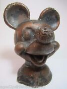 Mickey Mouse Walt Disney Original Old Toy Mold Wdp Marked Metal Figural Head