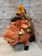Bnwt Disney Store Authentic Stamped Lion King Timon And Pumbaa Plush And Bugs