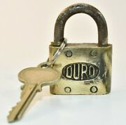 Vintage Embossed Letter - Duro Heavy Brass Padlock Lock With Key Working 5a