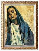 Old Vintage Italian Painting The Pain Madonna Virgin Mary Antique Magliano