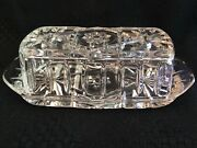 Vintage Anchor Hocking Starburst Covered Butter Dish Cut Clear Glass
