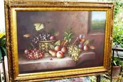 Large Paint By M Aaron Fruit Bowl Still Life Art Oil Painting Canvas Framed N/r