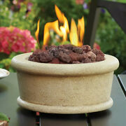 Table Top Fire Pit Round Propane Gas Beige Fireplace Lava Rocks Garden Outdoor