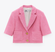 Zara Woman Nwt Fw21 Pink Buttoned Textured Jacket All Sizes 2696/600