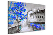 Black And White Town With Coloured Trees On Framed Canvas Wall Print Art Picture