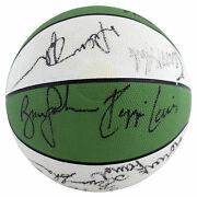 Late 1980and039s Celtics 16 Bird Mchale Johnson Lewis Signed Basketball Bas