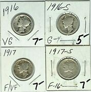 1916 P Ands And 1917 P And S  Mercury Dimes - 3 Coins