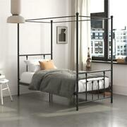 Dhp Manila Metal Canopy Bed In Twin Size Frame In Black