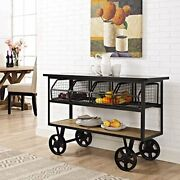 Modway Serving Stand Brown Fairground Rustic Farmhouse And Steel Rolling Cart New