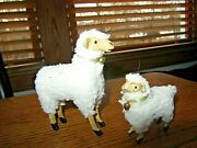 Sheep Set Of 2-mom 4h And Baby 2 1/2h W/ Little Bells Around Neck-new