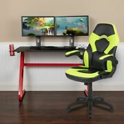 Red Gaming Desk And Green/black Racing Chair Set W/cup Holder And Headphone Hook