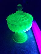 Fenton Art Glass Green Opalescent Hobnail Covered Pedestal Candy Dish